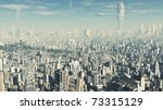 View across a futuristic sci-fi city, 3d digitally rendered illustration - stock photo