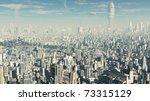 view across a futuristic sci fi ...   Shutterstock . vector #73315129