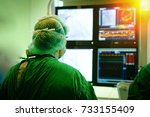 interventional cardiology. male ... | Shutterstock . vector #733155409