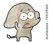 cartoon unsure elephant | Shutterstock .eps vector #733159363