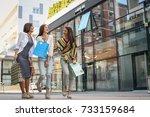 three fashionable young women...   Shutterstock . vector #733159684