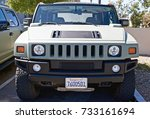 Small photo of SANTA CLARITA/CALIFORNIA - OCT. 8, 2017: Frontal view of a late model Hummer parked in a parking lot at a gathering of classic car enthusiasts. Santa Clarita, California USA