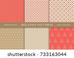set of winter holiday seamless... | Shutterstock .eps vector #733163044