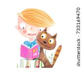 little kid and cat with book.... | Shutterstock .eps vector #733169470