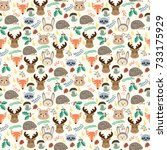 seamless pattern with cute... | Shutterstock .eps vector #733175929