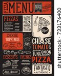 pizza food menu for restaurant... | Shutterstock .eps vector #733176400
