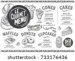 dessert menu for restaurant and ... | Shutterstock .eps vector #733176436