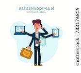 businessman with multitasking. | Shutterstock .eps vector #733176859