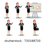 business women set of symbols... | Shutterstock .eps vector #733188733