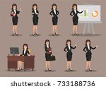 business women set of symbols... | Shutterstock .eps vector #733188736