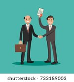 rewarding the employee with a... | Shutterstock .eps vector #733189003