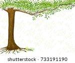 hand drawn tree. vector... | Shutterstock .eps vector #733191190
