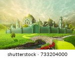 emerald city with yellow brick... | Shutterstock . vector #733204000