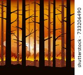 burning wildfire with charred... | Shutterstock .eps vector #733206490