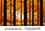 burning  wildfire in california ... | Shutterstock .eps vector #733206499