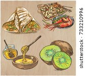food menu. international... | Shutterstock .eps vector #733210996