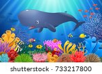 cartoon sperm whale swimming in ... | Shutterstock . vector #733217800