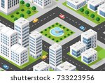 isometric 3d illustration city... | Shutterstock . vector #733223956