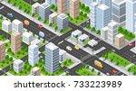 isometric illustration city | Shutterstock . vector #733223989