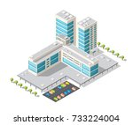 tourist hotel isometric | Shutterstock . vector #733224004