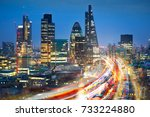 city of london view at sunset... | Shutterstock . vector #733224880