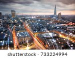 city of london view at night ... | Shutterstock . vector #733224994