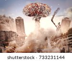 nuclear explosion in a city.... | Shutterstock . vector #733231144
