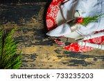 festive table setting for... | Shutterstock . vector #733235203