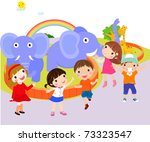 kids at the zoo   vector | Shutterstock .eps vector #73323547