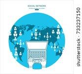 social network. concept. flat... | Shutterstock .eps vector #733237150