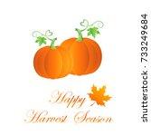 pumpkin harvest background ... | Shutterstock .eps vector #733249684