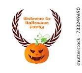 halloween party invitation card ... | Shutterstock .eps vector #733249690