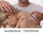 chiropractic back adjustment.... | Shutterstock . vector #733250164