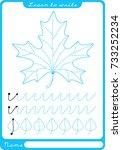 leaf. preschool worksheet for... | Shutterstock .eps vector #733252234