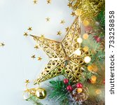 christmas holidays composition... | Shutterstock . vector #733258858