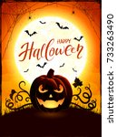 halloween background with... | Shutterstock .eps vector #733263490