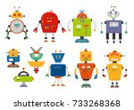 set of cute vintage cartoon... | Shutterstock .eps vector #733268368