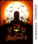 halloween background with tomb... | Shutterstock .eps vector #733269019
