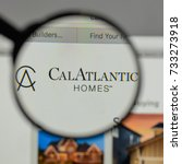 Small photo of Milan, Italy - August 10, 2017: Cal Atlantic Group logo on the website homepage.
