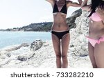two beautiful sexy women in... | Shutterstock . vector #733282210