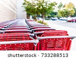 Many Rows Of Red Shopping Carts ...