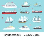 ships at sea  shipping boats ... | Shutterstock .eps vector #733292188