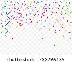 colorful confetti and ribbon... | Shutterstock .eps vector #733296139