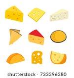 cheese set. vector flat cartoon ... | Shutterstock .eps vector #733296280