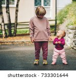 outdoor portrait of two funny... | Shutterstock . vector #733301644