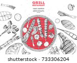 grilled meat and vegetables top ... | Shutterstock .eps vector #733306204