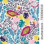 seamless pattern with... | Shutterstock .eps vector #733306510