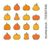 halloween line icon set. color... | Shutterstock .eps vector #733307440