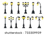 vintage streetlights. flat... | Shutterstock .eps vector #733309939