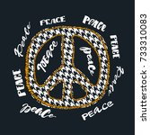 peace sign. bright embroidery... | Shutterstock .eps vector #733310083
